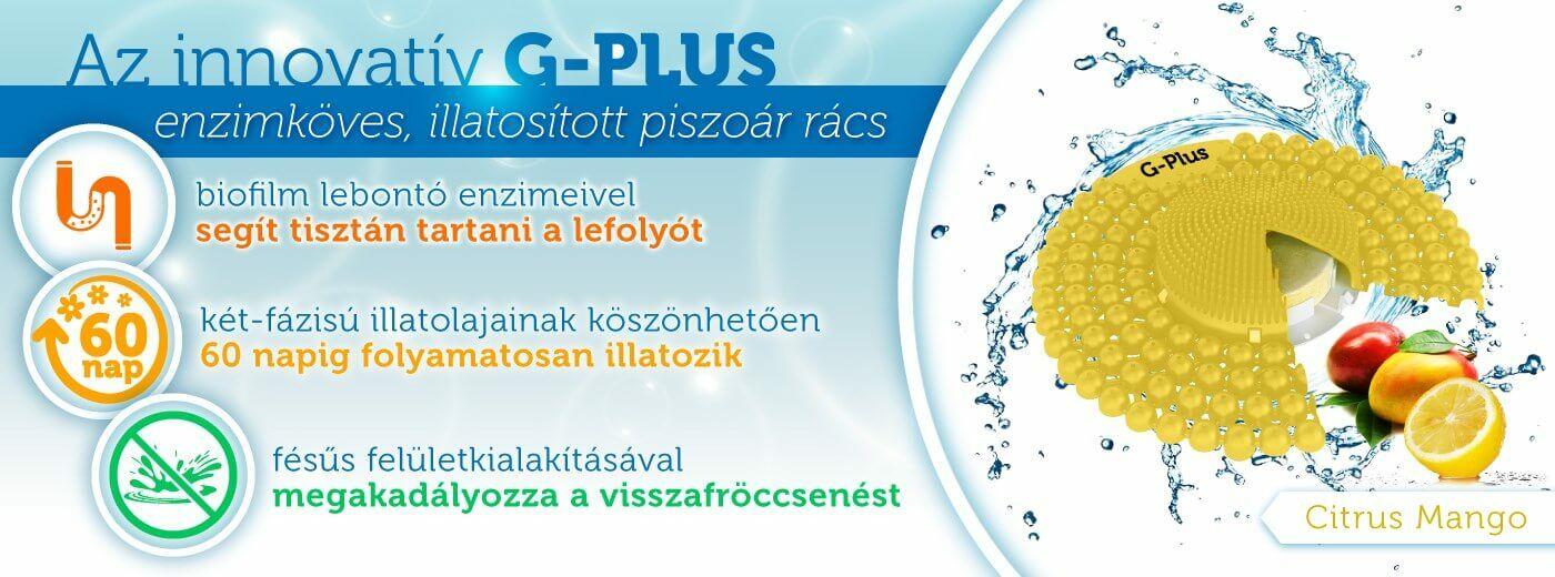 G-PLUS enzimes lefolyótisztító piszoár rács 60 napos illattal