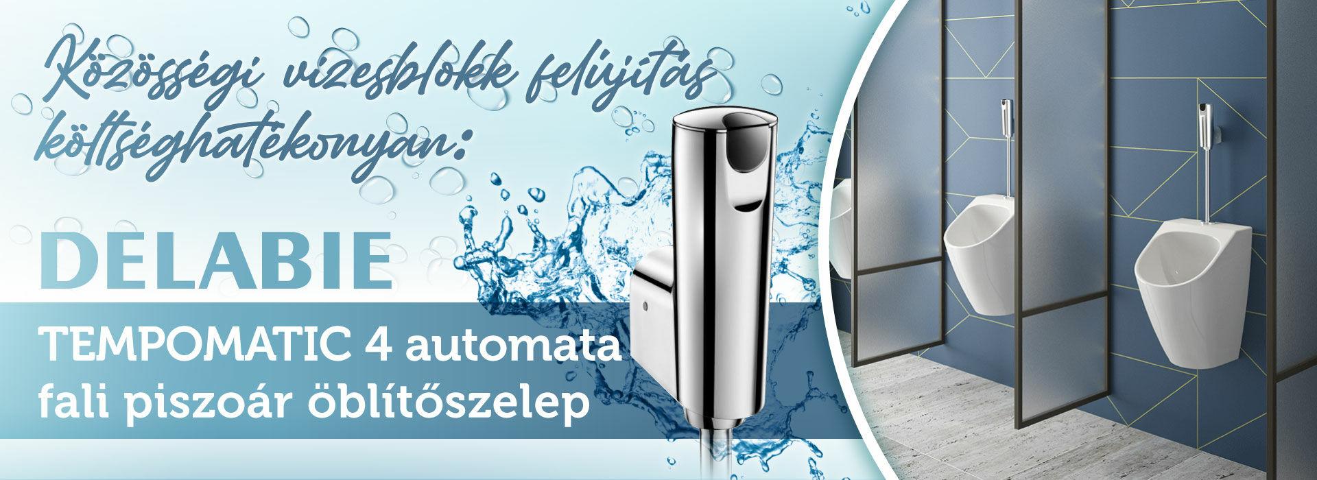 Közösségi vizesblokk felújítás költséghatékonyan DELABIE Tempomatic 4 automata fali piszoár öblítőszelep