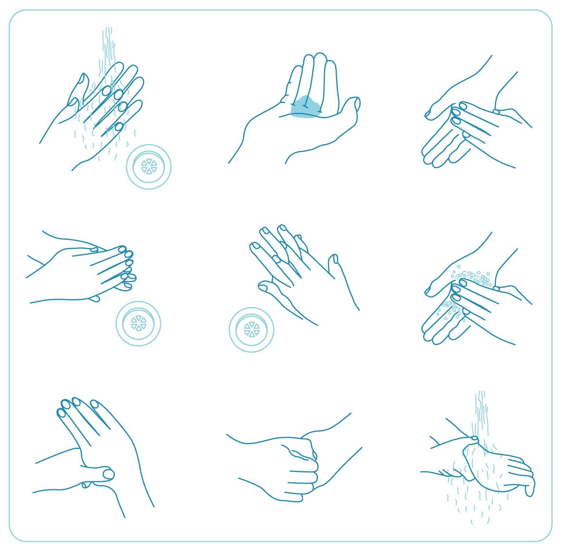 helyes kézmosás lépései
