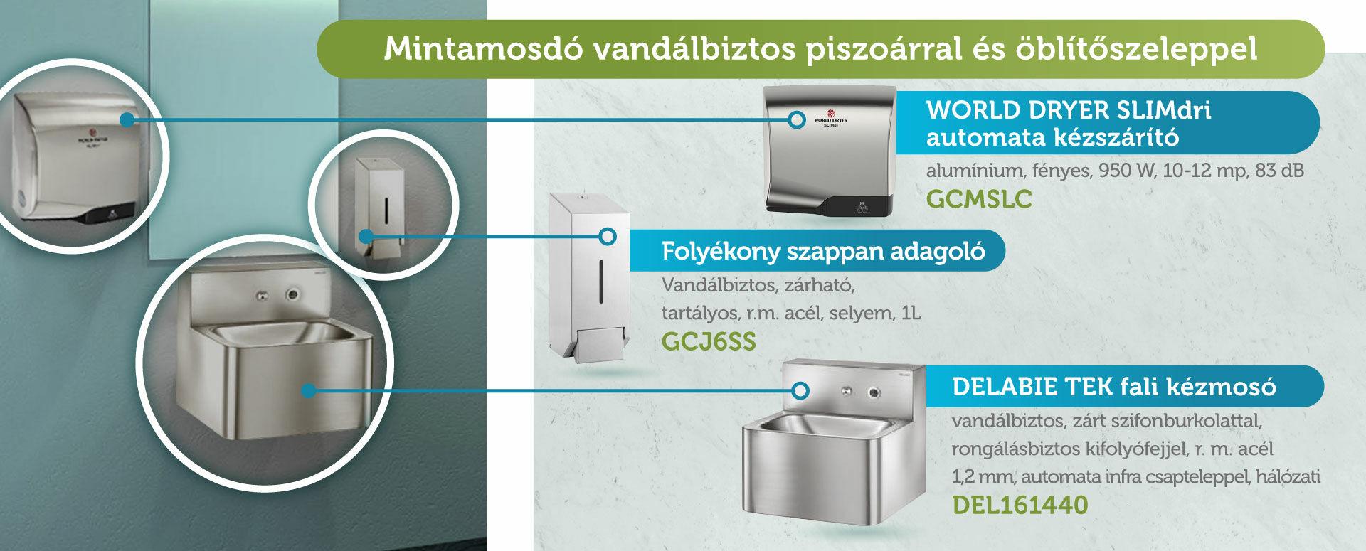mintamosdó, mosdókagylóval, szappanadagolóval, kézszárítóval