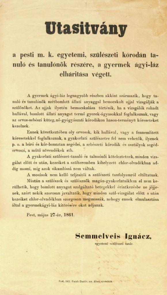Semmelweis Ignác utasítványa a kézfertőtlenítésről