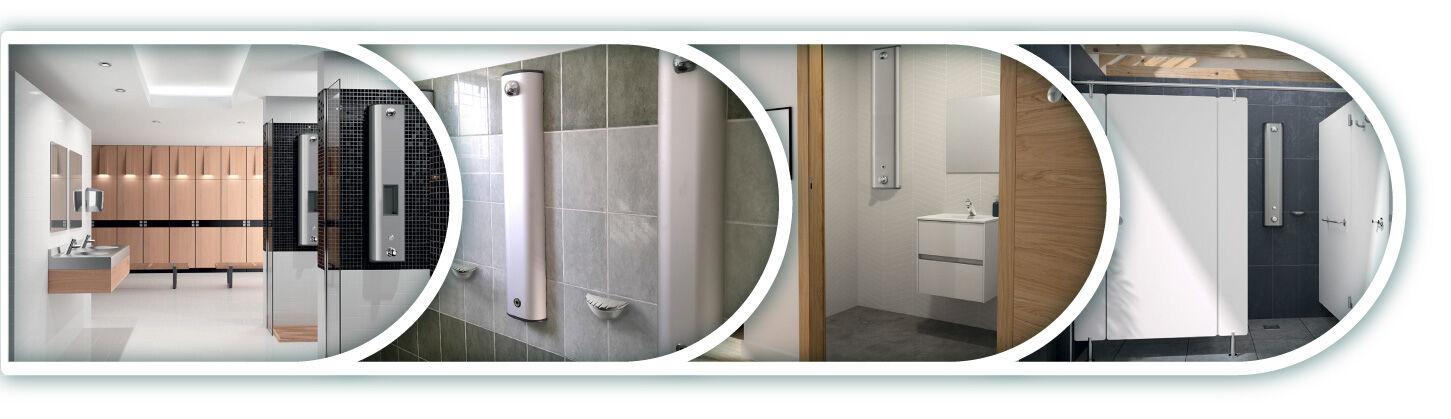 DELABIE vandálbiztos, víztakarékos zuhanypanelek