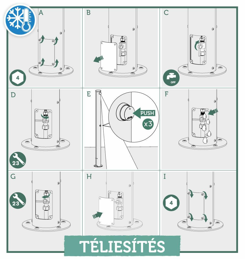 Zuhanyoszlopok téliesítése
